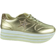 """JOCASTA"" Gold Flat Platform Wedges Sneakers Lace Up Trainers"