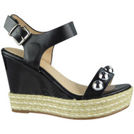 """WILLOW"" Black Studded Platform Espadrilles Buckle Party Wedge Shoes"