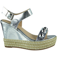 """WILLOW"" Silver Studded Platform Espadrilles Buckle Party Wedge Shoes"