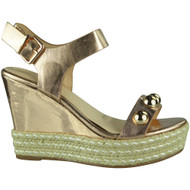 """WILLOW"" Champagne Studded Platform Espadrilles Buckle Party Wedge Shoes"