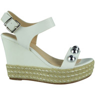 """WILLOW"" White Studded Platform Espadrilles Buckle Party Wedge Shoes"