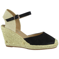 """SCARLETT"" Black High Heel Espadrilles Buckle Wedge Sandals"
