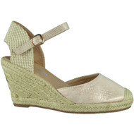 """SCARLETT"" Pink High Heel Espadrilles Buckle Wedge Sandals"