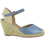 """SCARLETT"" Blue High Heel Espadrilles Buckle Wedge Sandals"