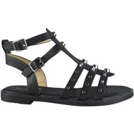 """AUDREY"" Black  Strappy Gladiator Low Heel Flat Buckle Sandals"