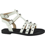 """AUDREY"" White Strappy Gladiator Low Heel Flat Buckle Sandals"