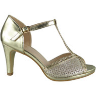 """DARLENA"" Gold Strappy Heels Wedding Bridal Party Shoes"