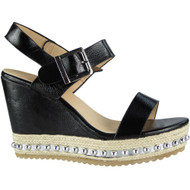 """ESTELLE"" Black Studded Espadrilles Buckle Party Wedge Sandals"