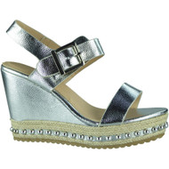 """ESTELLE"" Silver Studded Espadrilles Buckle Party Wedge Sandals"