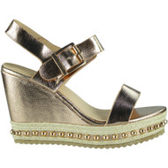 """ESTELLE"" Champagne Studded Espadrilles Buckle Party Wedge Sandals"