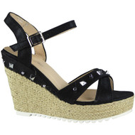 """""""ARDEL"""" Black Hessian Studded Espadrilles Party Wedge Sandals"""