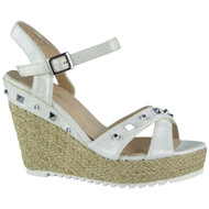 """""""ARDEL"""" White Hessian Studded Espadrilles Party Wedge Sandals"""