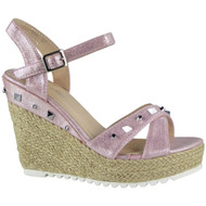 """""""ARDEL"""" Pink Hessian Studded Espadrilles Party Wedge Sandals"""
