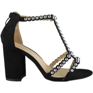 """CAMELIA"" Black Studded T-Bar High Heel faux Suede Party Sandals"