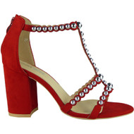 """CAMELIA"" Red Studded T-Bar High Heel Faux Suede Party Sandals"