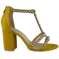 """CAMELIA"" Yellow Studded T-Bar High Heel Faux Suede Party Sandals"