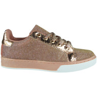 Clarice Champagne Flat Lace Up Trainers