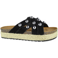 Danita Black Slip On Espadrilles Slippers
