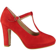 """""""DAWNA"""" Red High Heel T-Bar Faux Suede Buckle Strap Court Shoes"""