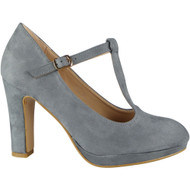 """""""DAWNA"""" Grey High Heel T-Bar Faux Suede Buckle Strap Court Shoes"""