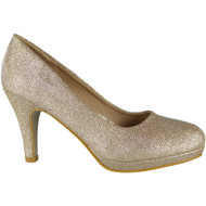 """""""ENID"""" Gold Glitter High Heel Party Bridal Wedding Court Shoes"""