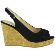 """""""ISABEL"""" Black Peep Toes Sling Back Cork Platform Wedge Sandals"""