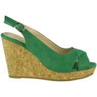"""""""ISABEL"""" Green Peep Toes Sling Back Cork Platform Wedge Sandals"""