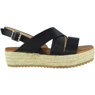 Teri Black Slingback Wedge Sandals