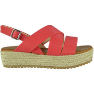 Teri Red Slingback Wedge Sandals