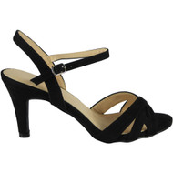 Stephanie Black High Kitten Heel Buckle Sandals