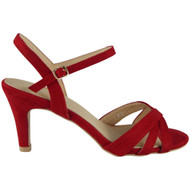 Stephanie Red High Kitten Heel Buckle Sandals