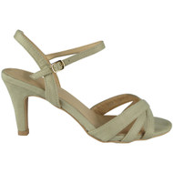 Stephanie Beige High Kitten Heel Buckle Sandals