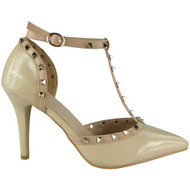 Abegail Beige T-Bar Ankle Strap Sandals