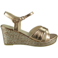 Bess Champagne Peep Toes Wedges Party Sandals