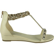Alanna Beige Studded T-Bar Gladiator Sandals
