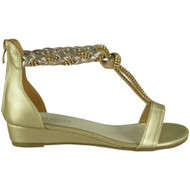 Aubrey Gold T-Bar Gladiator Sandals