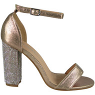 Zoey Champagne Diamante Block Heel Sandals