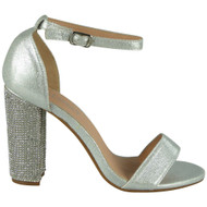 Zoey Silver Diamante Block Heel Sandals