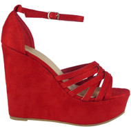 Lillian Red Peep Toes Platform Heel Sandals