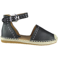 Savannah Black Studded Ankle Strap Espadrilles
