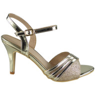 Claire Gold Peep Toes Party Sandals