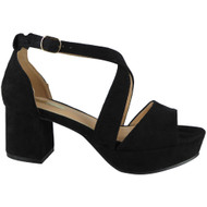 Madelyn Black Peep Toes Block Heel Sandals