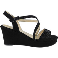 Gianna Black Peep Toes Sequins Sandals
