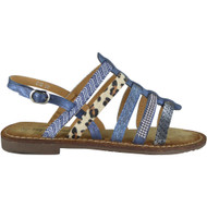 Alessandra Blue Flat Sling Back Sandals