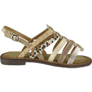 Alessandra Gold Flat Sling Back Sandals