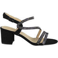Kenzie Black Diamante Heel Sandals