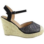 Madilynn Black Espadrilles High Heel Wedges
