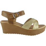 Valeria Gold Ankle Strap Wedge Sandals