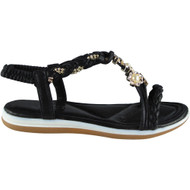 Lorelei Black Elastic Strap Sandals