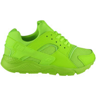 Emma Neon Green Lace Up Running  Trainers